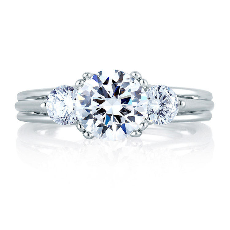 A Jaffe Platinum Three-Stone Engagement Ring MES225 Alternative View 2