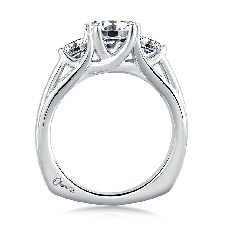 A Jaffe Platinum Three-Stone Engagement Ring MES225 Alternative View 1