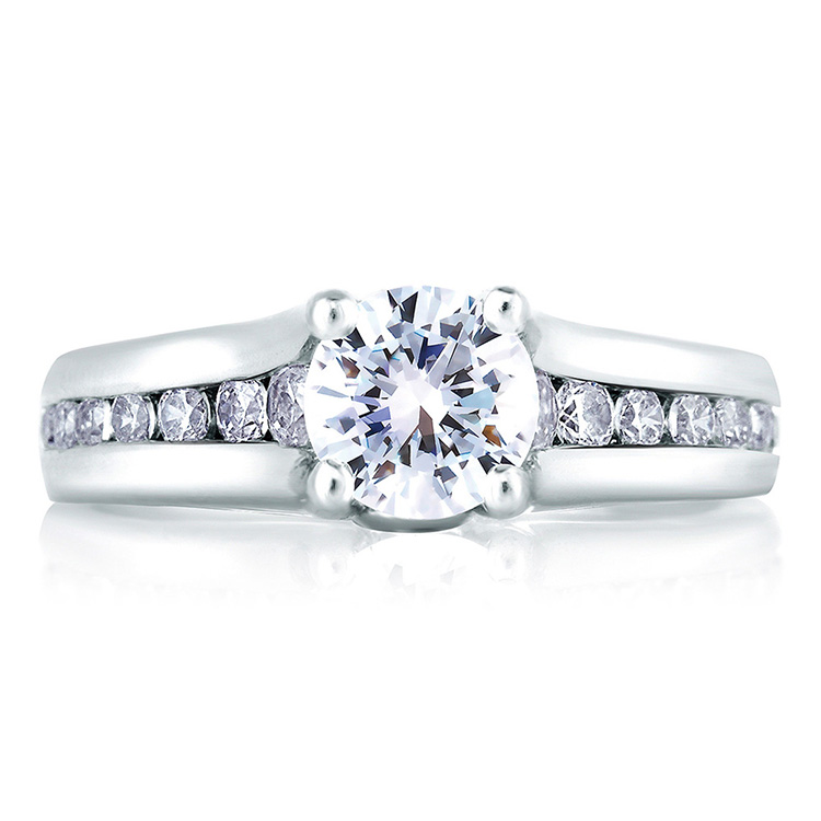 A Jaffe Platinum Signature Engagement Ring MES228 Alternative View 2