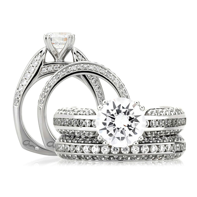 A Jaffe Platinum Signature Engagement Ring MES235 Alternative View 3
