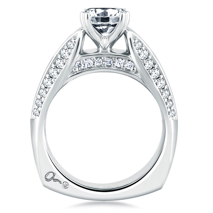A Jaffe Platinum Signature Engagement Ring MES235 Alternative View 1