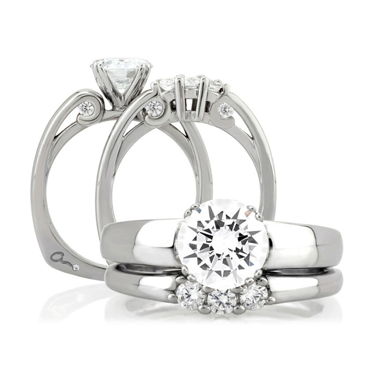 A Jaffe Platinum Solitaire Engagement Ring MES237 Alternative View 3