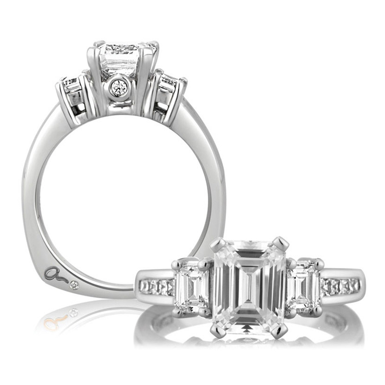 A Jaffe Platinum Three-Stone Engagement Ring MES242 Alternative View 3