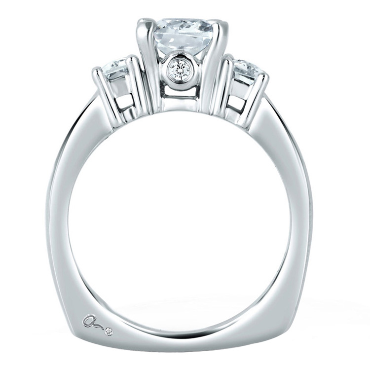 A Jaffe Platinum Three-Stone Engagement Ring MES242 Alternative View 1