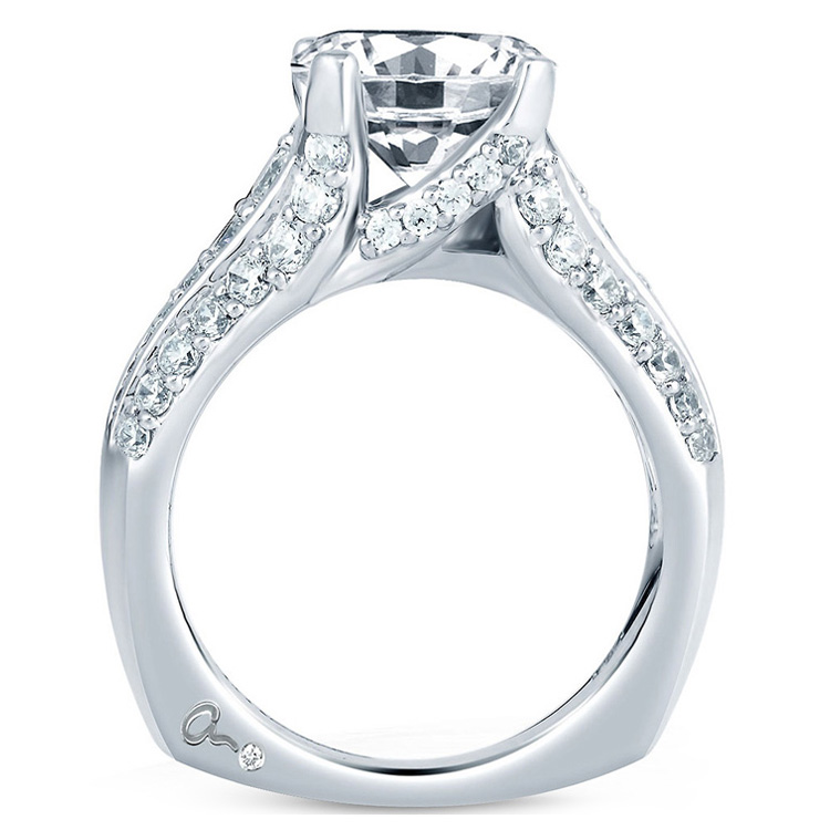 A Jaffe Platinum Signature Engagement Ring MES267 Alternative View 1