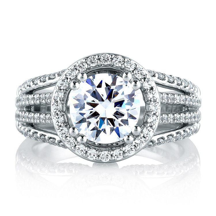 A Jaffe Platinum Signature Engagement Ring MES268 Alternative View 2