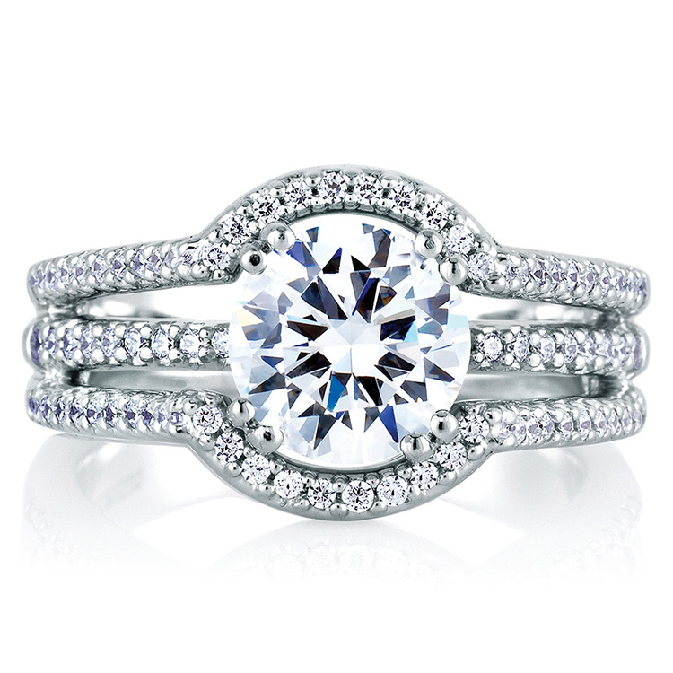 A Jaffe Platinum Signature Engagement Ring MES273 Alternative View 2
