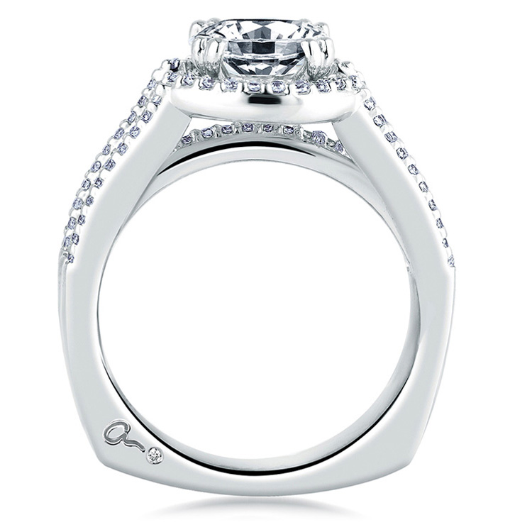 A Jaffe Platinum Signature Engagement Ring MES273 Alternative View 1
