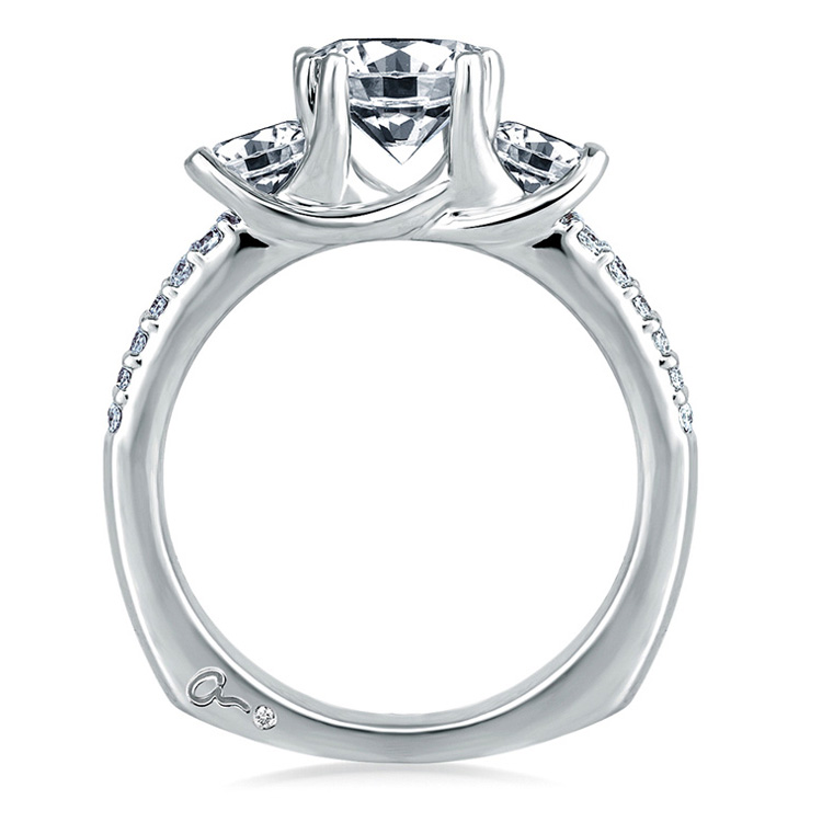A Jaffe 18 Karat Three-Stone Engagement Ring MES278 Alternative View 1