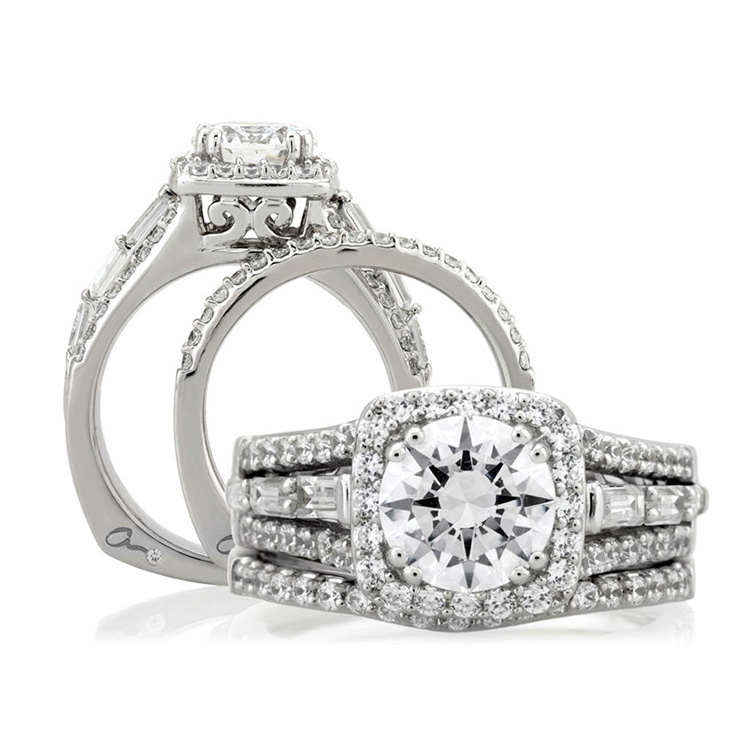 A Jaffe Platinum Signature Engagement Ring MES279 Alternative View 3
