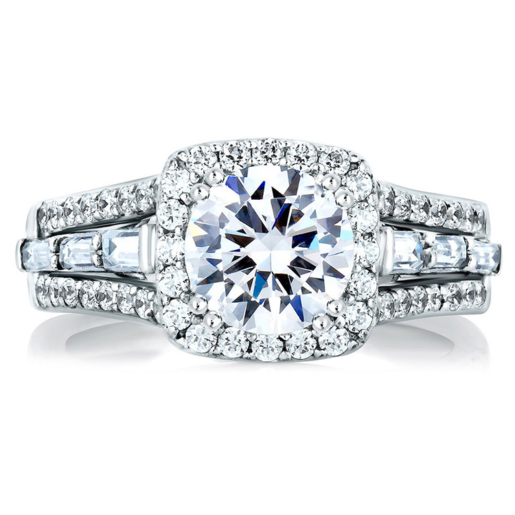 A Jaffe Platinum Signature Engagement Ring MES279 Alternative View 2