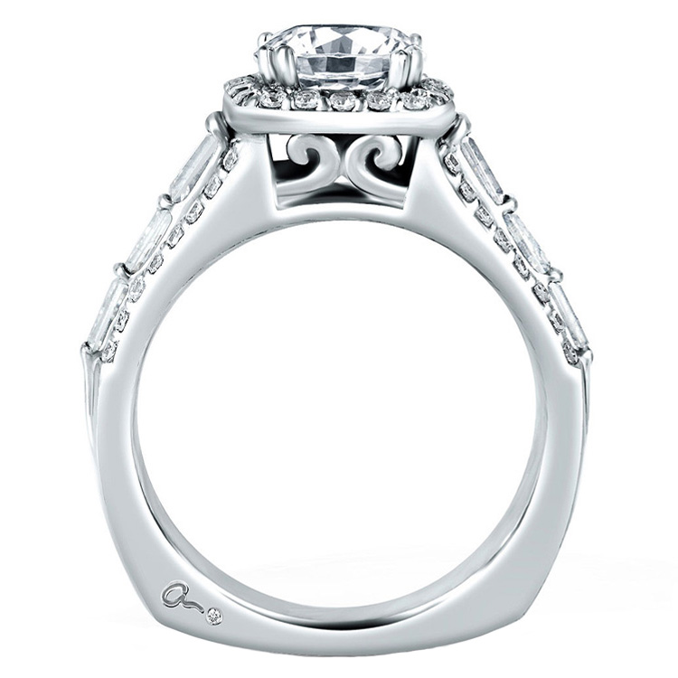 A Jaffe Platinum Signature Engagement Ring MES279 Alternative View 1