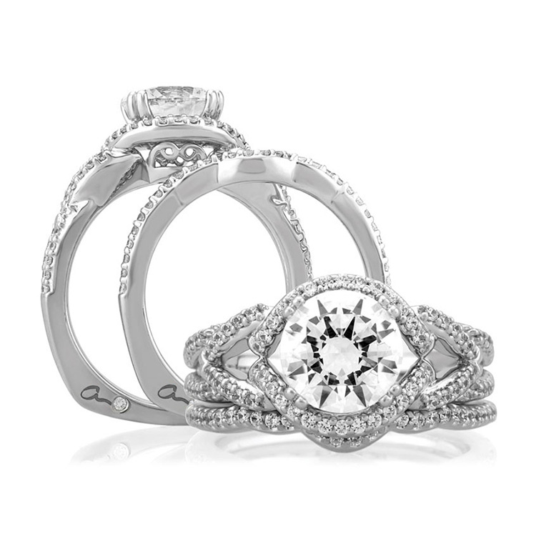 A Jaffe Platinum Signature Engagement Ring MES283 Alternative View 3