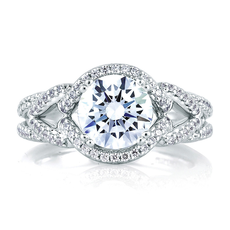 A Jaffe Platinum Signature Engagement Ring MES283 Alternative View 2