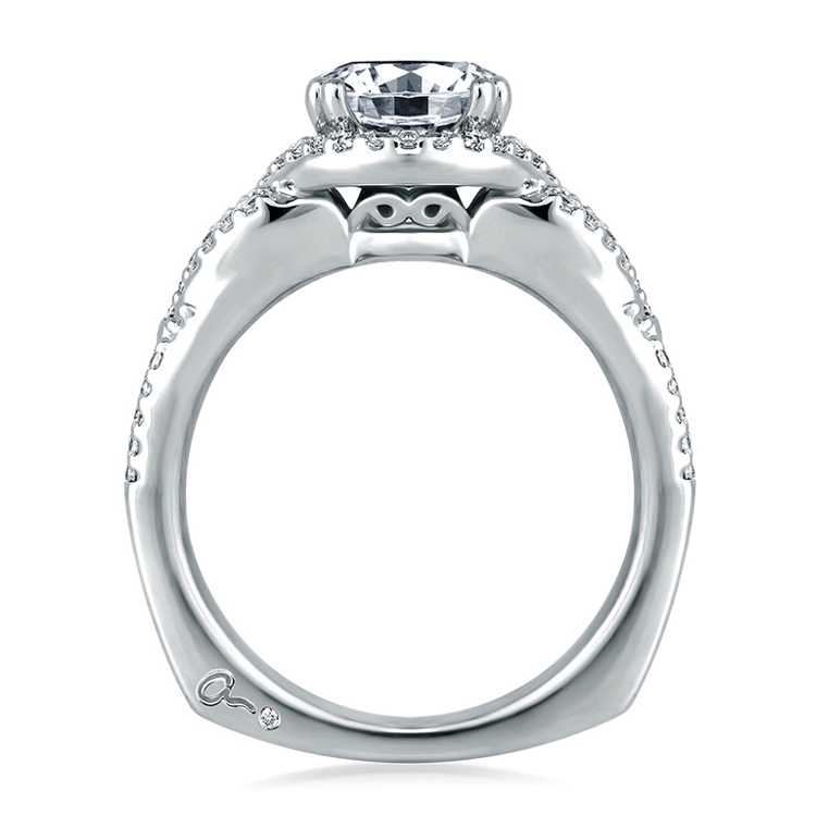 A Jaffe Platinum Signature Engagement Ring MES283 Alternative View 1
