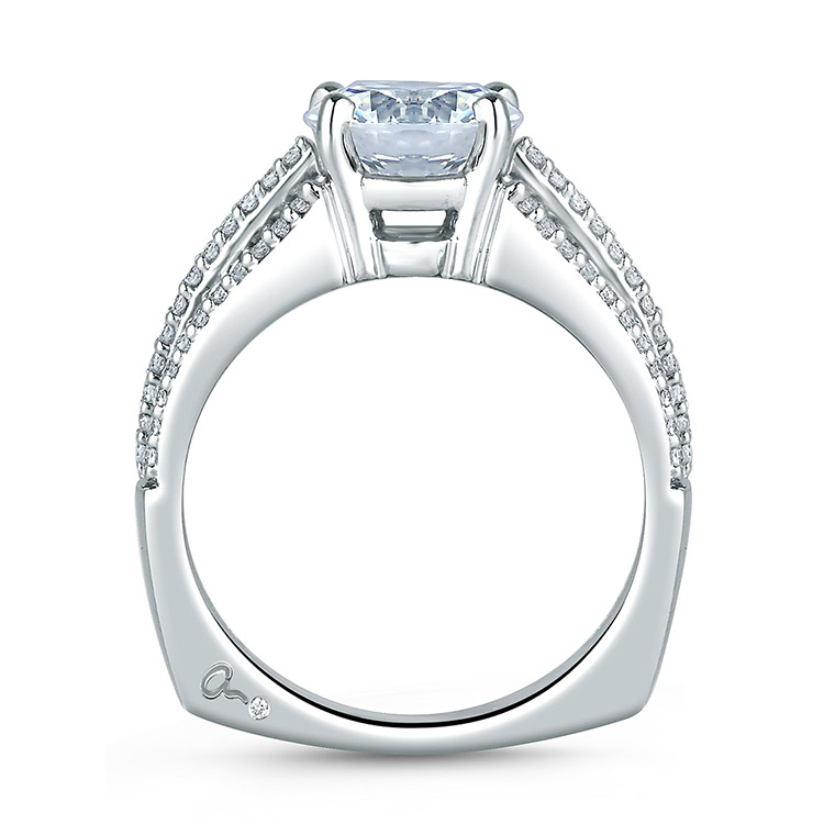 A Jaffe Platinum Signature Engagement Ring MES300 Alternative View 1
