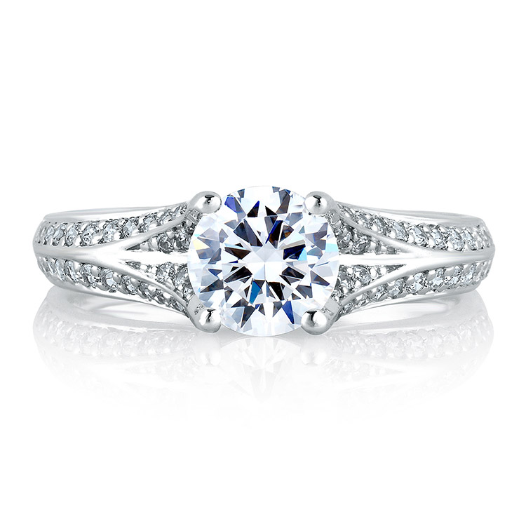 A Jaffe Platinum Signature Engagement Ring MES302 Alternative View 2