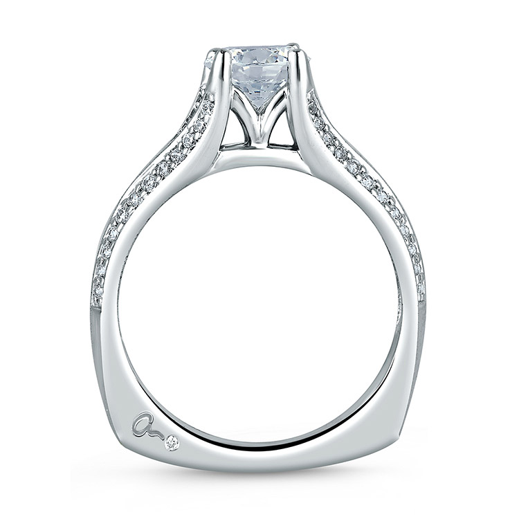 A Jaffe 18 Karat Signature Engagement Ring MES302 Alternative View 1