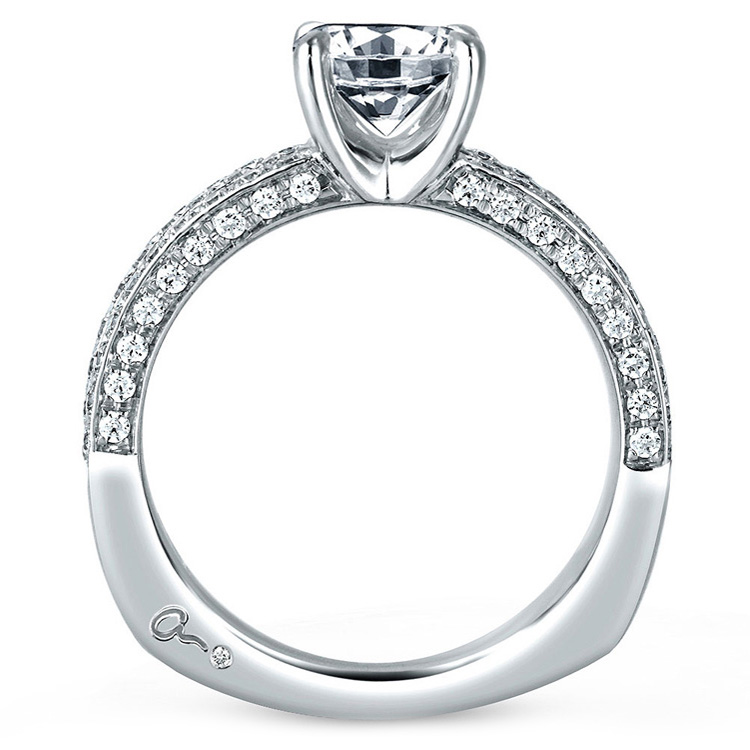 A Jaffe Platinum Signature Engagement Ring MES321 Alternative View 1