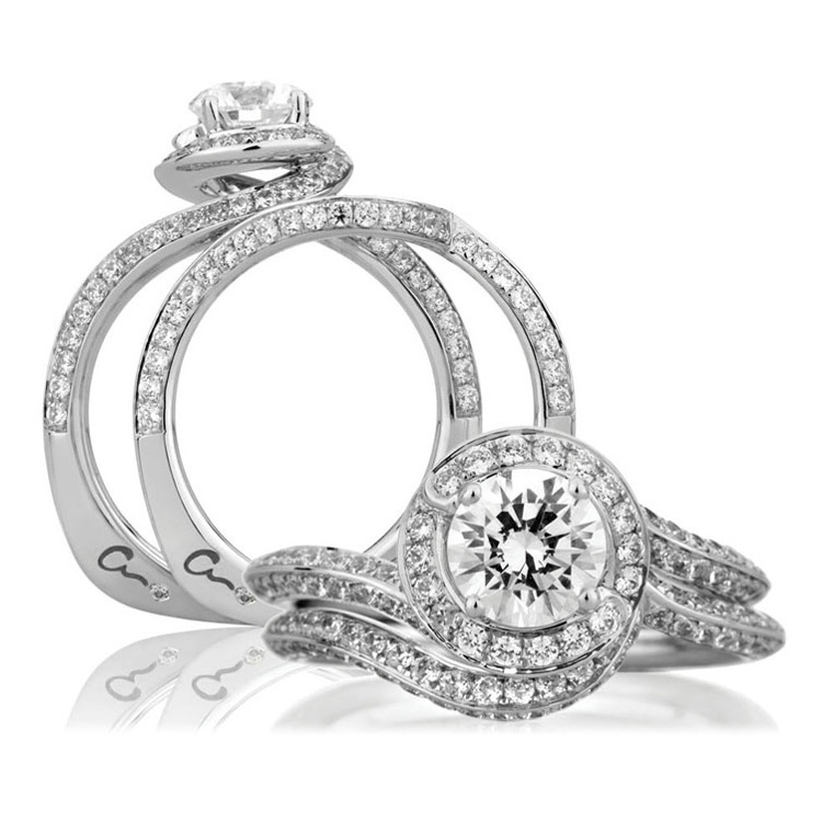 A Jaffe Platinum Signature Engagement Ring MES322 Alternative View 3
