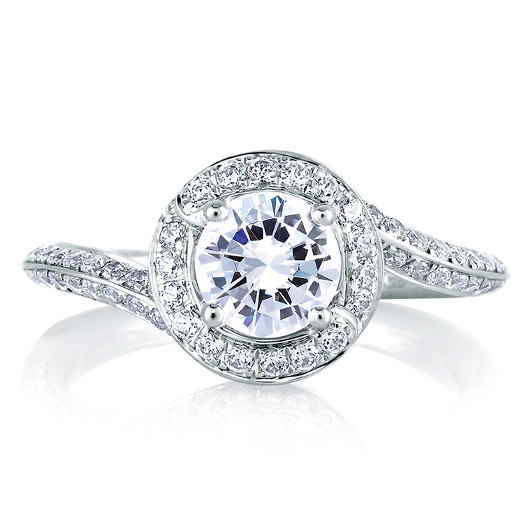 A Jaffe Platinum Signature Engagement Ring MES322 Alternative View 2