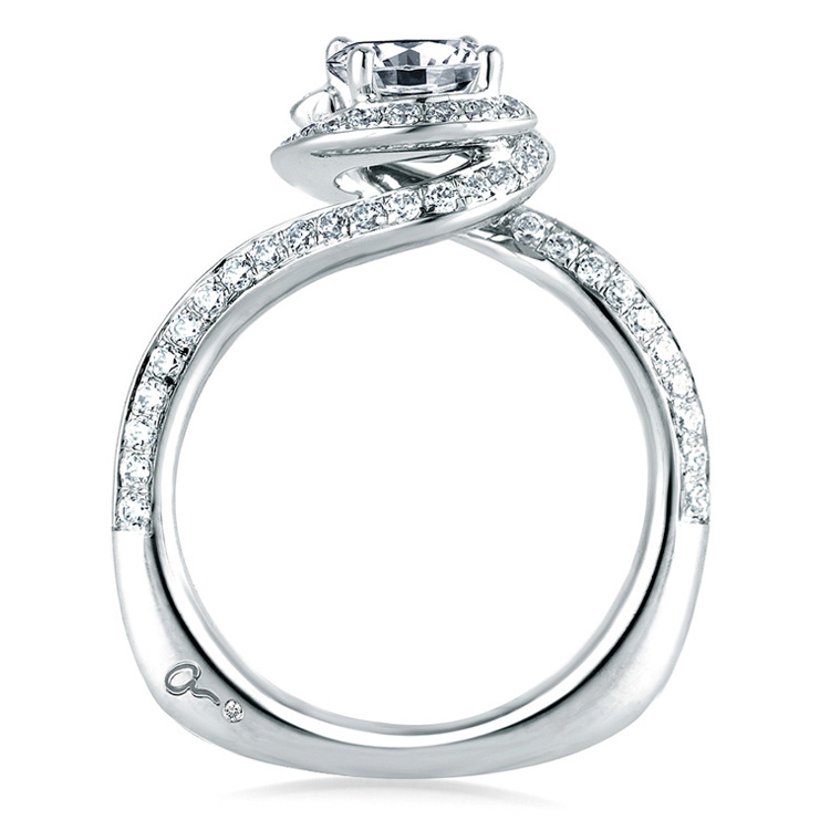 A Jaffe Platinum Signature Engagement Ring MES322 Alternative View 1