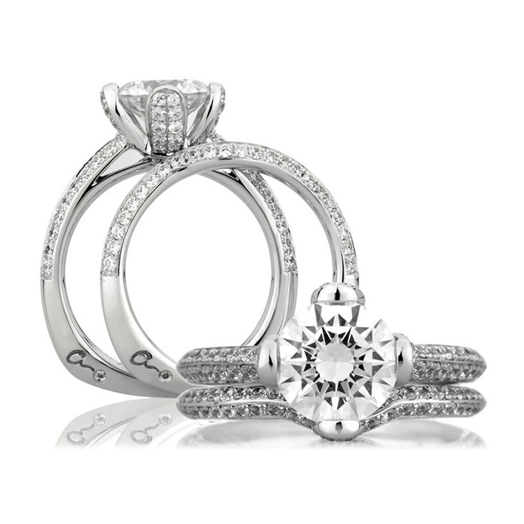 A Jaffe Platinum Signature Engagement Ring MES323 Alternative View 3
