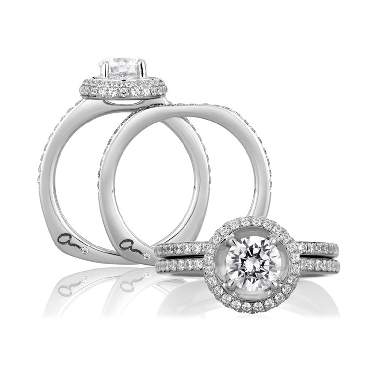 A Jaffe Platinum Signature Engagement Ring MES325 Alternative View 3