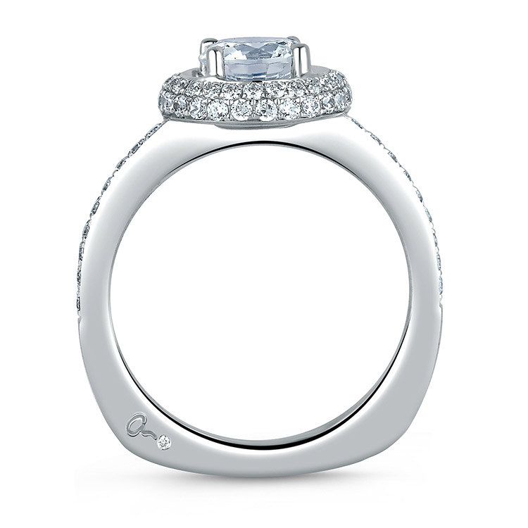 A Jaffe Platinum Signature Engagement Ring MES325 Alternative View 1