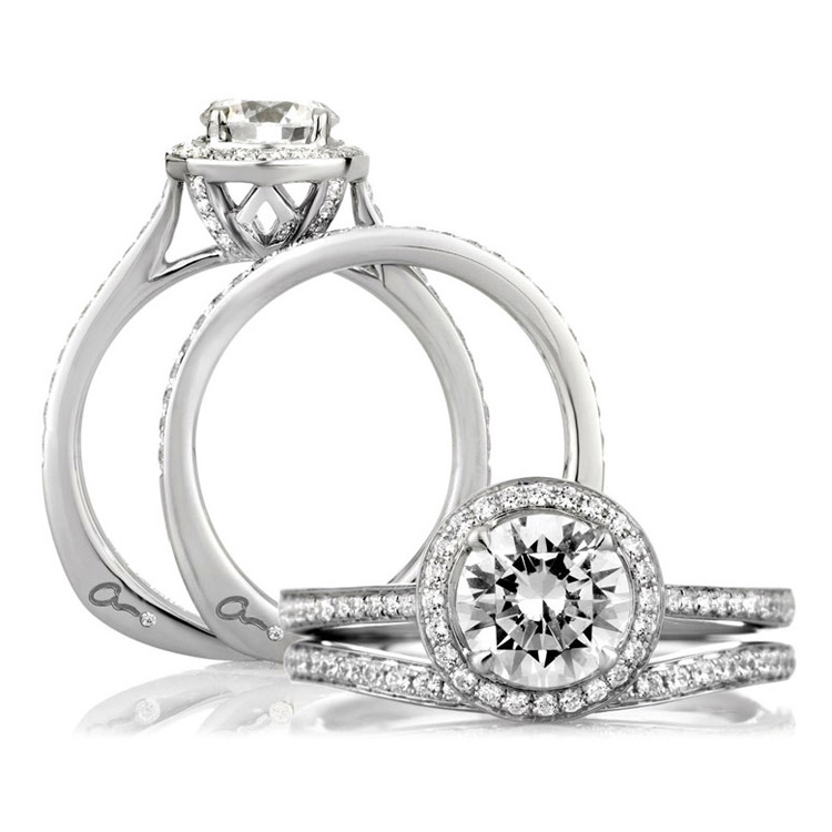 A Jaffe Platinum Signature Engagement Ring MES332 Alternative View 3
