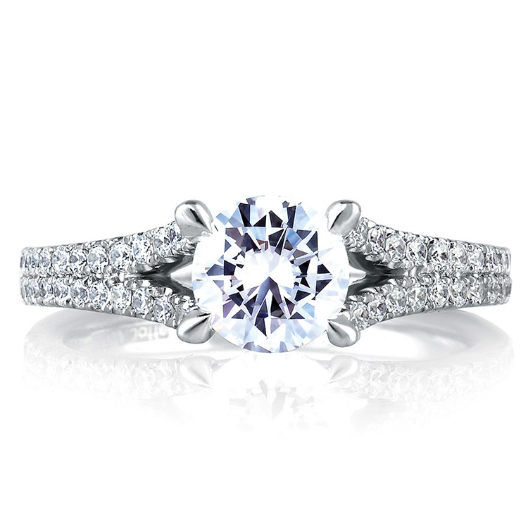 A Jaffe Platinum Signature Engagement Ring MES333 Alternative View 2