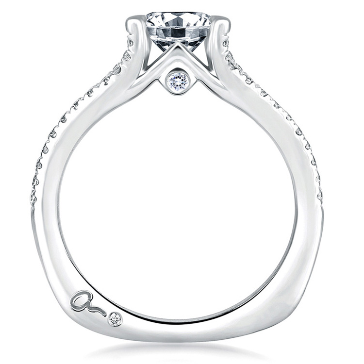 A Jaffe Platinum Signature Engagement Ring MES333 Alternative View 1