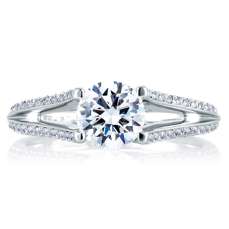 A Jaffe 18 Karat Signature Engagement Ring MES334 Alternative View 2
