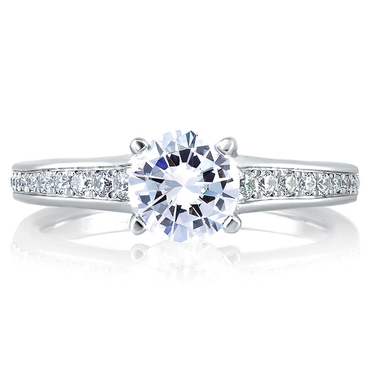A Jaffe Platinum Signature Engagement Ring MES336 Alternative View 2