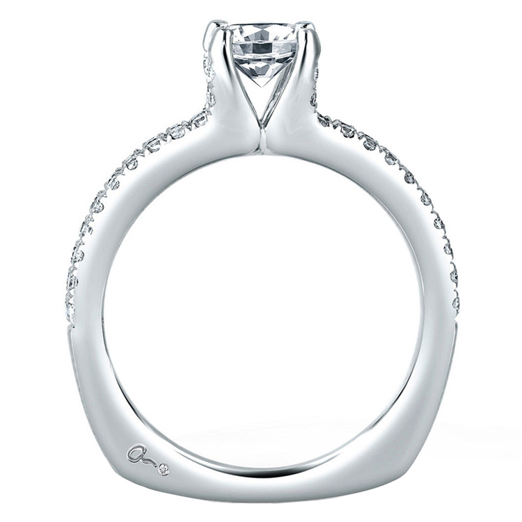 A Jaffe Platinum Signature Engagement Ring MES364 Alternative View 1