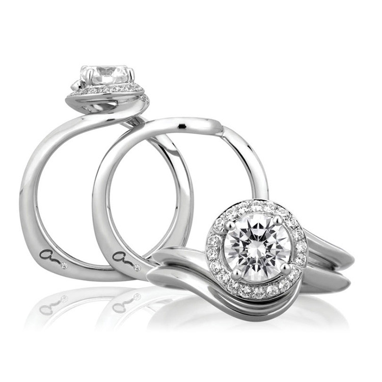 A Jaffe Platinum Signature Engagement Ring MES374 Alternative View 3