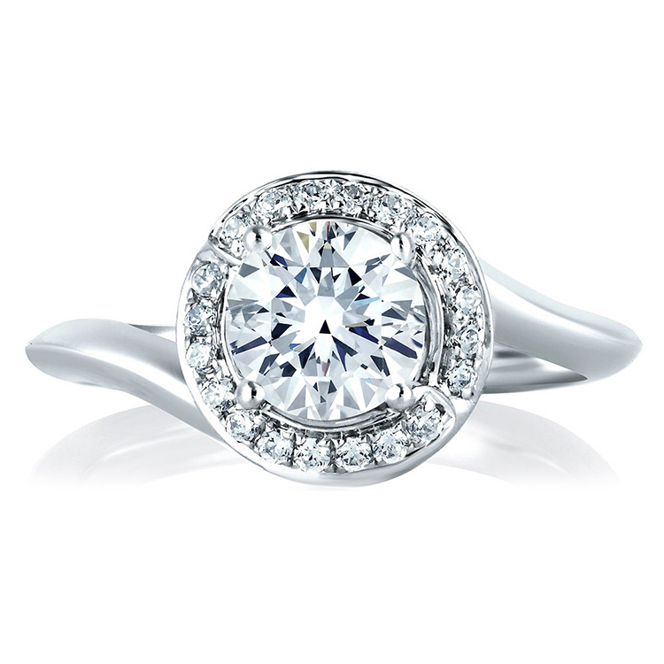 A Jaffe Platinum Signature Engagement Ring MES374 Alternative View 2