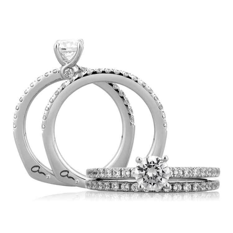 A Jaffe Platinum Signature Engagement Ring MES375 Alternative View 3