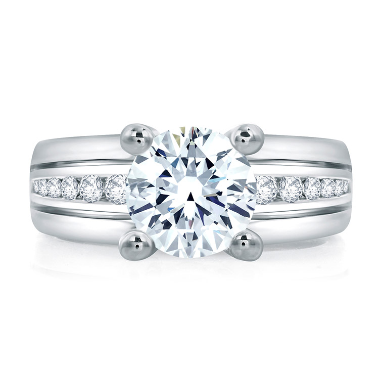 A.JAFFE Platinum Signature Engagement Ring RMS006 Alternative View 2