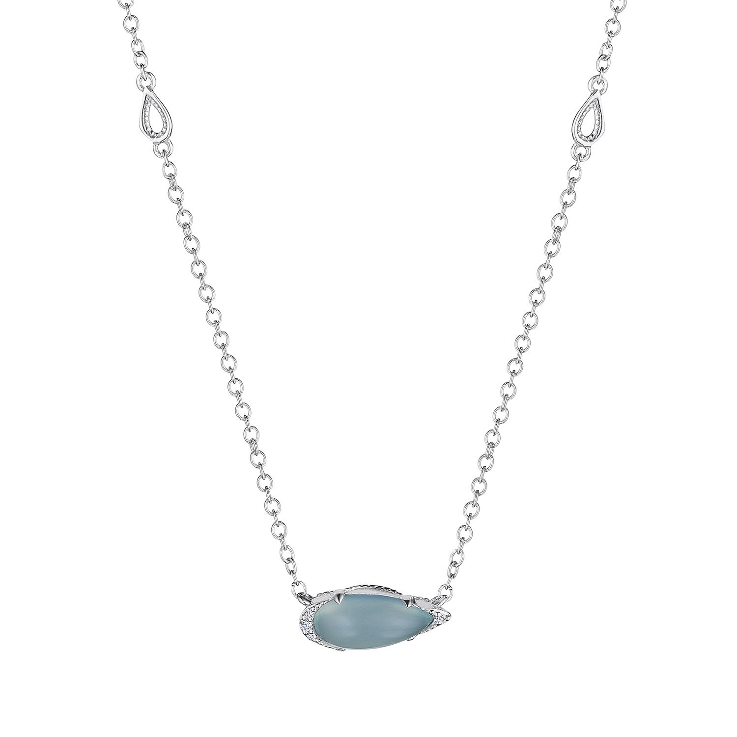 Tacori SN23538 Solitaire Pear-Shaped Gem Necklace with Green Chalcedony