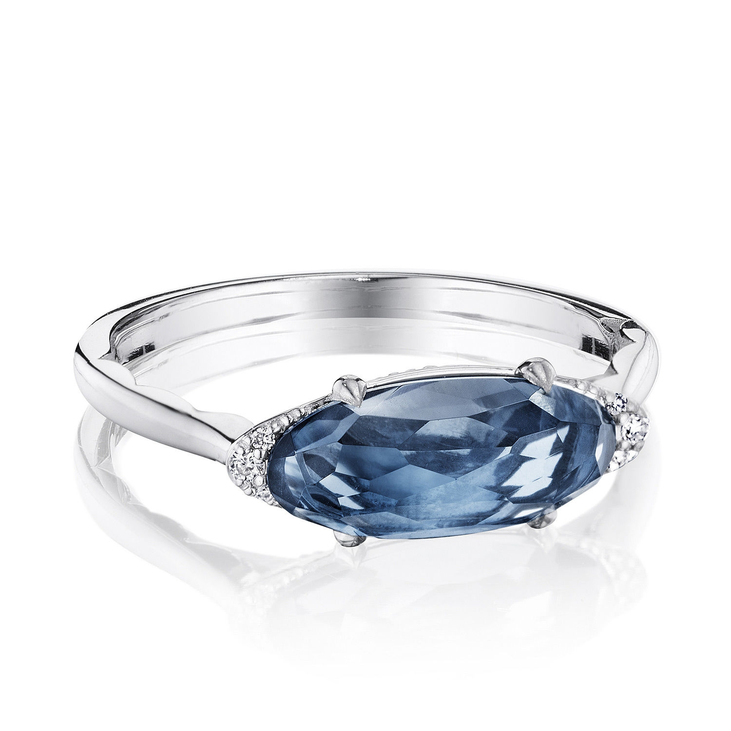 Tacori SR22333 Solitaire Oval Gem Ring with London Blue Topaz