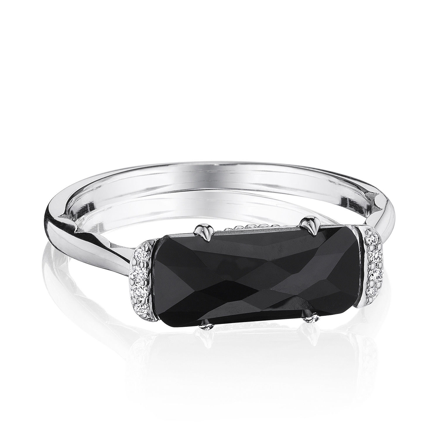 Tacori Sr22419 Solitaire Emerald Cut Ring With Black Onyx Tq Diamonds
