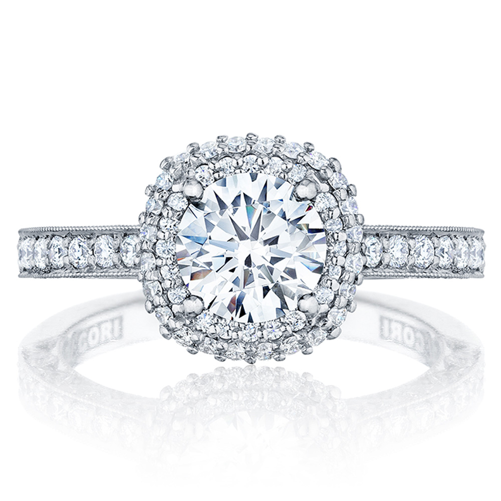 HT2522CU75 Tacori Crescent Platinum Engagement Ring