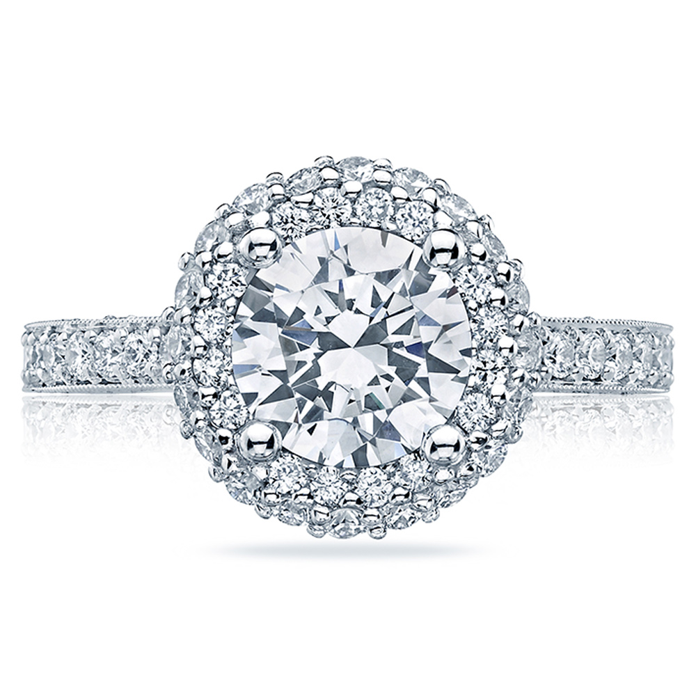 HT2522RD7 Tacori Crescent Platinum Engagement Ring
