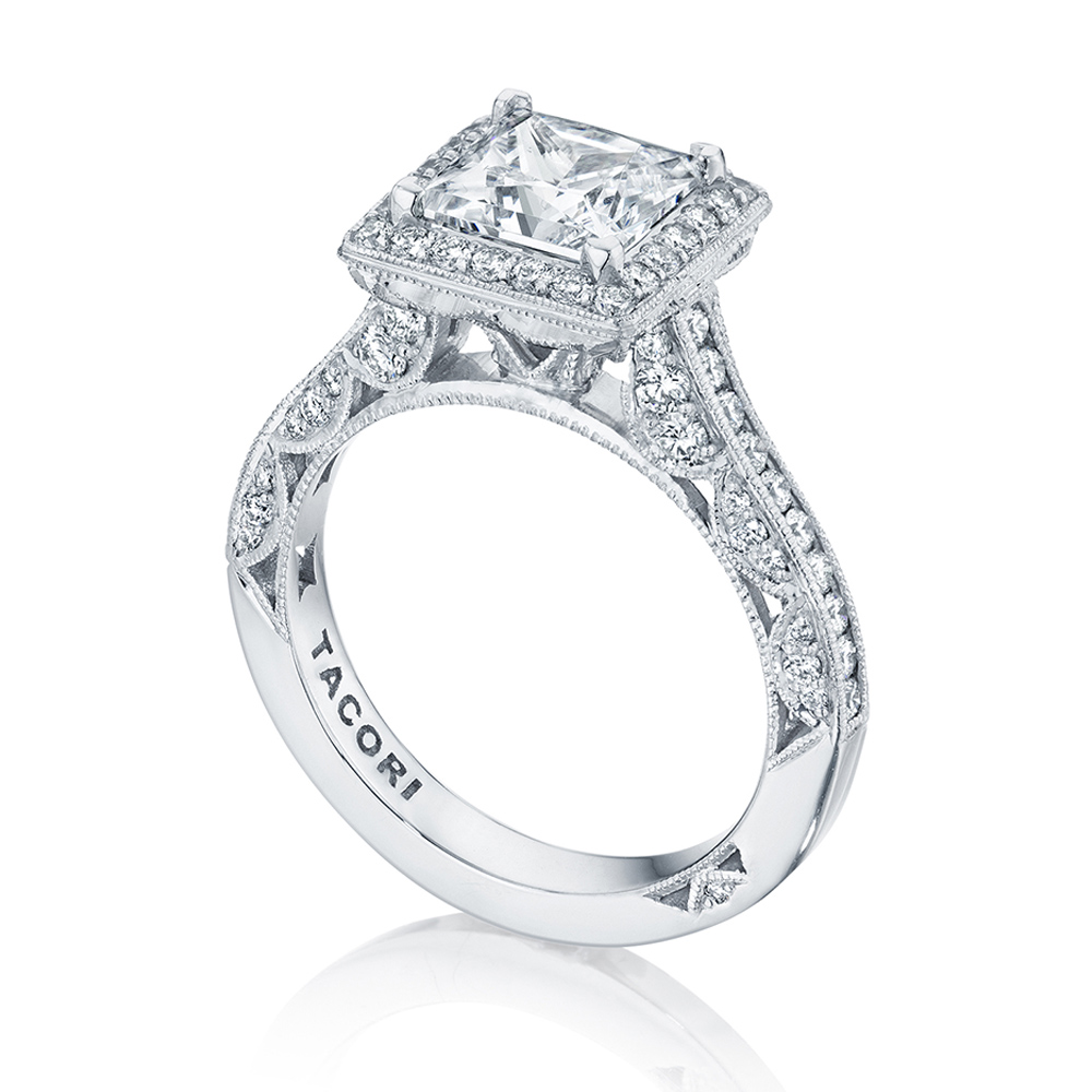 HT2550PR7 Platinum Tacori Classic Crescent Engagement Ring Alternative View 2