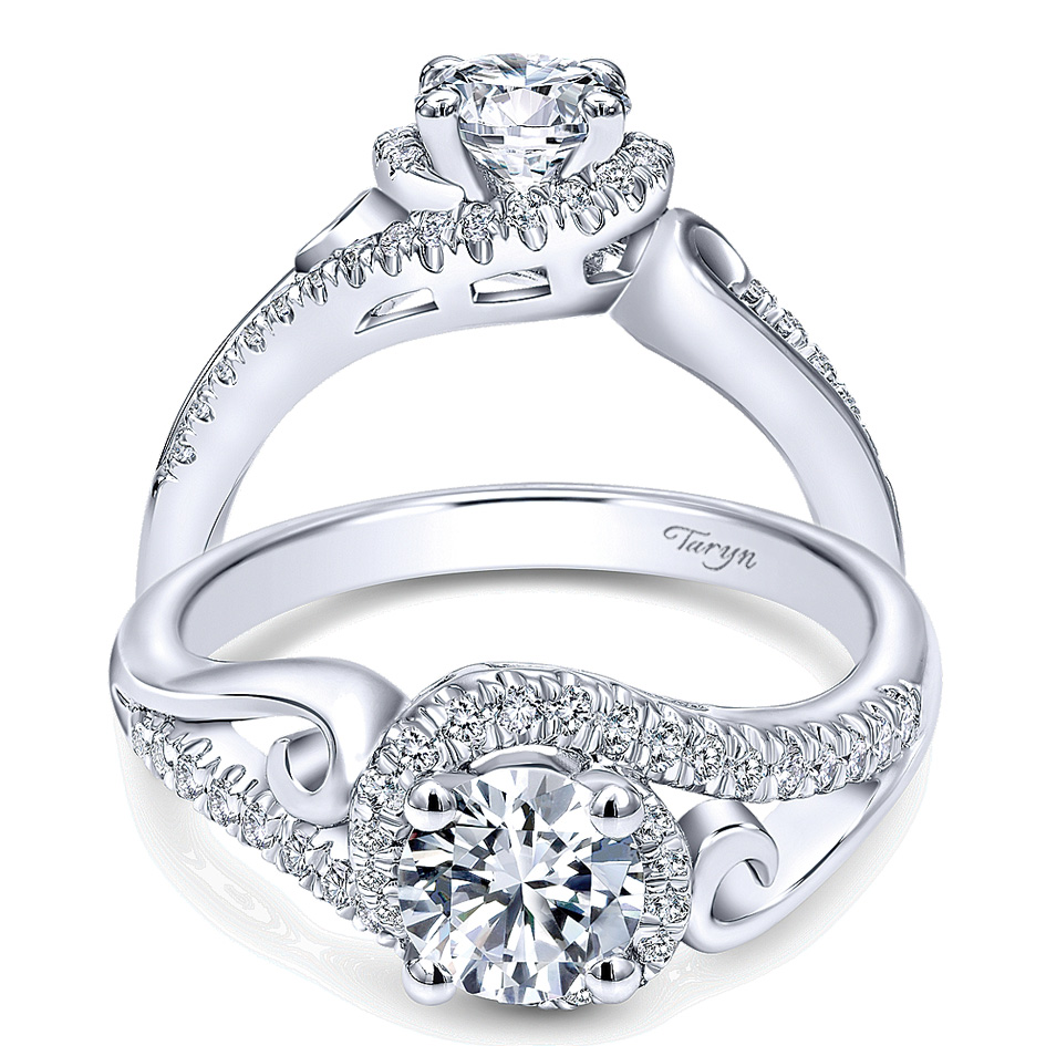 Taryn 14k White Gold Round Bypass Engagement Ring TE10450W44JJ