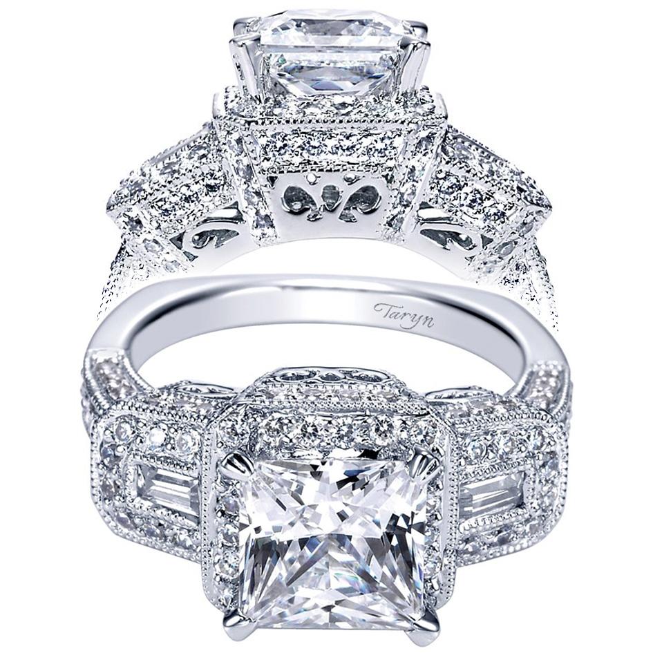 Taryn 14k White Gold Princess Cut 3 Stones Halo Engagement Ring Te4243w44jj Tq Diamonds