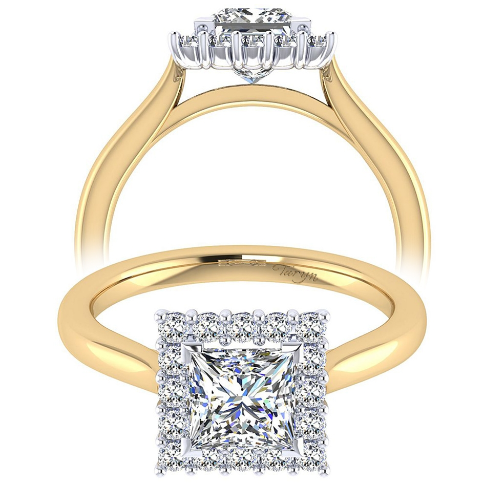 Taryn 14k Yellow Gold Princess Cut Halo Engagement Ring Te7499m44jj Tq Diamonds