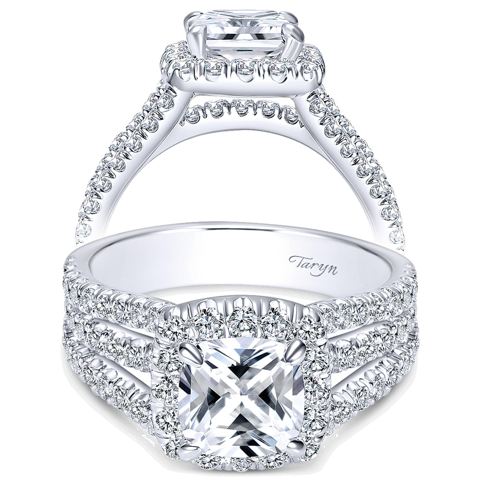 c53a58522deb Taryn 14k White Gold Cushion Cut Halo Engagement Ring TE8903W44JJ ...