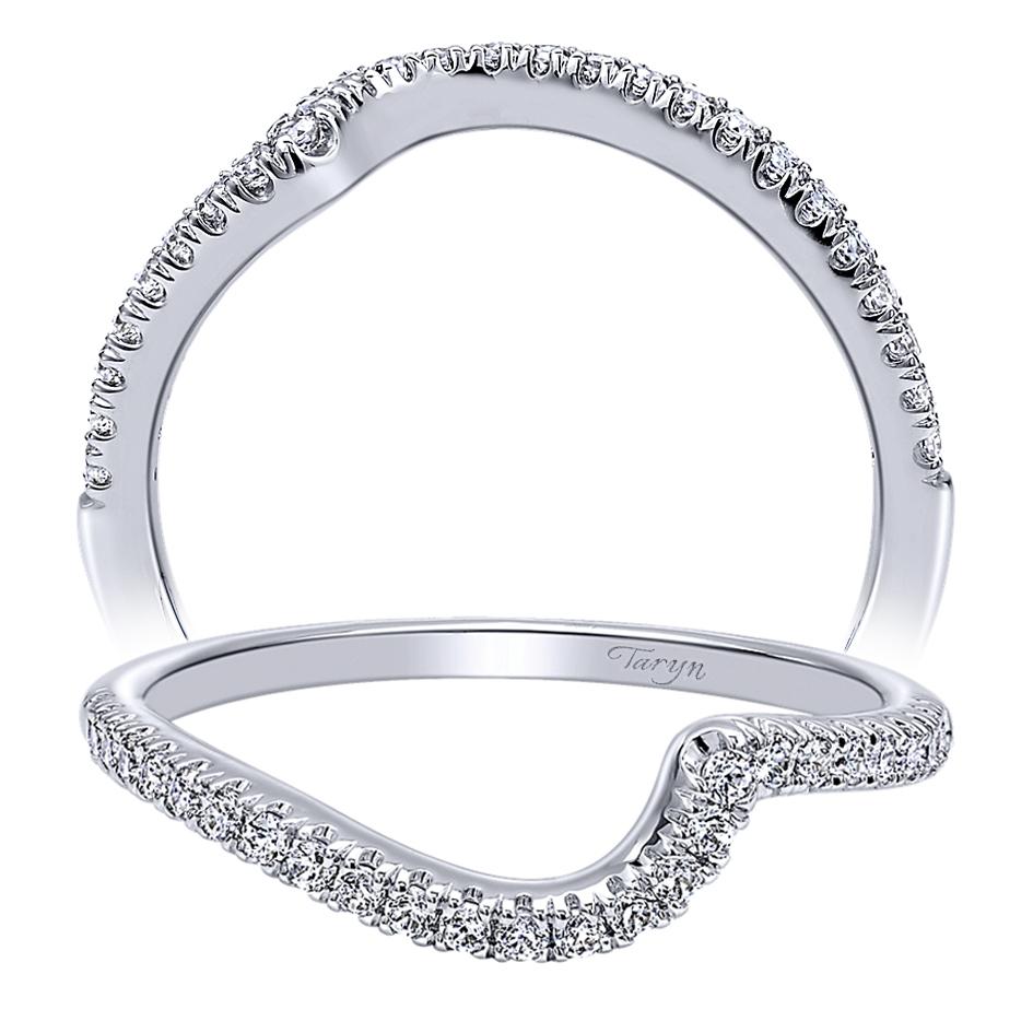 14 Karat Bands: Taryn 14 Karat White Gold Curved Wedding Band TW10472W44JJ